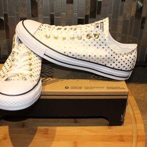 ecc6e03111f Converse Shoes - Converse Ox White   Gold Polka Dot Canvas Sneakers